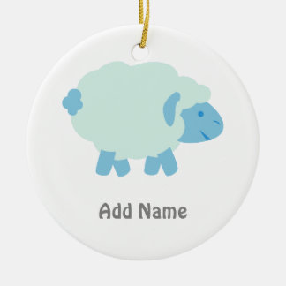 Cute Little Blue Lamb Ceramic Ornament