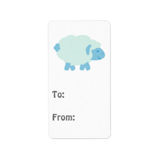 Cute Little Blue Lamb Label