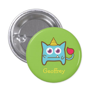 Cute Little Blue Monster with Horn for kids Button