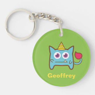 Cute Little Blue Monster with Horn Keychain