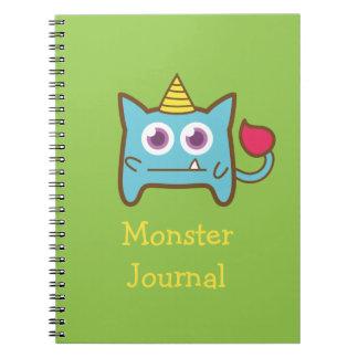 Cute Little Blue Monster with Horn Spiral Notebook