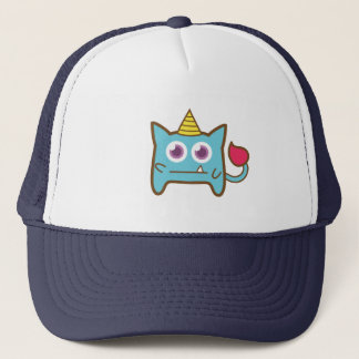 Cute Little Blue Monster with Horn Trucker Hat