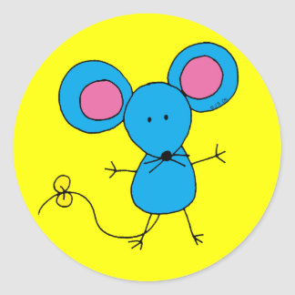 Cute little blue mouse classic round sticker