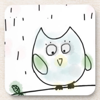Cute Little Blue Owl Beverage Coaster