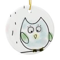 Cute Little Blue Owl Ceramic Ornament