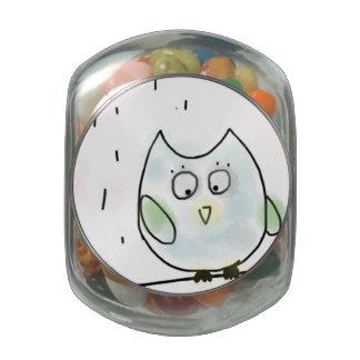 Cute Little Blue Owl Glass Jars