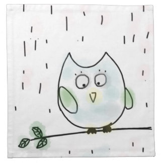 Cute Little Blue Owl Napkin