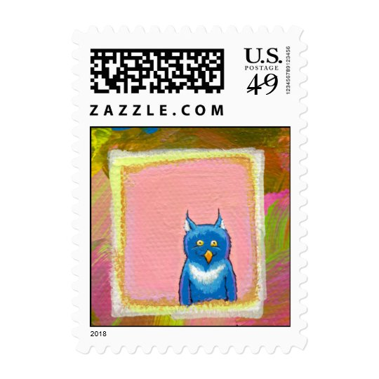 Cute little blue owl painting Owls are Carnivores Postage