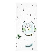 Cute Little Blue Owl Rack Card