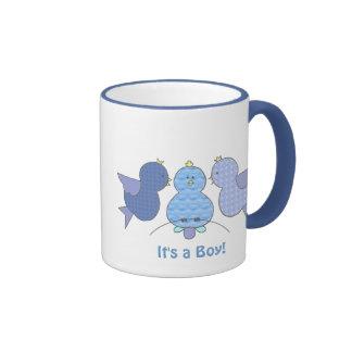 Cute Little Blue Pattern Birds It's a Boy Custom Ringer Mug