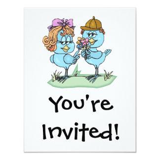 cute little bluebirds in love cartoon graphic card