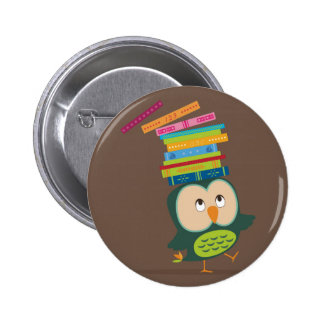 Cute little book owl 2 inch round button