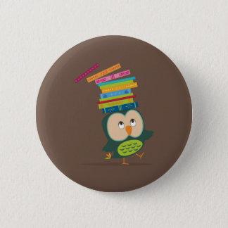 Cute little book owl button