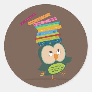 Cute little book owl classic round sticker