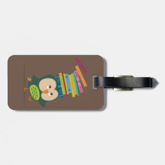 Cute little book owl luggage tag