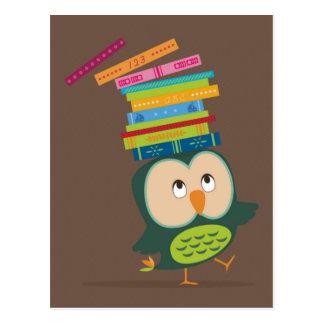 Cute little book owl postcard