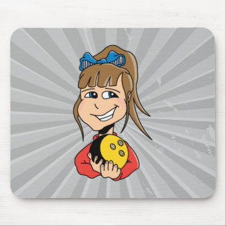 cute little bowling girl kid graphic mouse pad