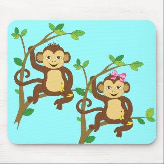 Cute Little Boy and Girl Monkey Mouse Pad