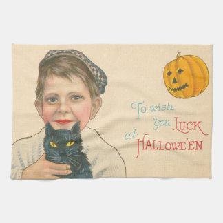 Cute Little Boy Black Cat Jack O Lantern Pumpkin Kitchen Towel