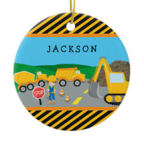 Cute Little Boy Construction Vehicle Kids Ceramic Ornament