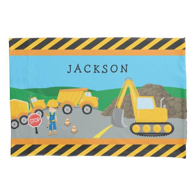 Cute Little Boy Construction Vehicle Monogrammed Pillow Case Zazzle Com