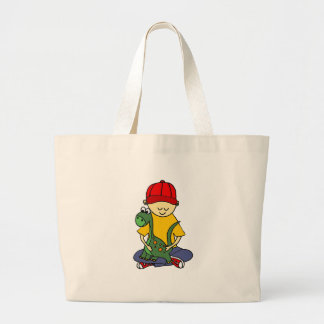 Cute Little Boy Hugging his Brontosaurus Large Tote Bag