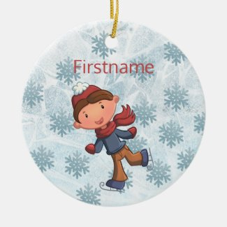 Cute little boy ice skating ornament