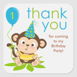 Cute Little Boy Monkey Thank You Sticker Square Sticker