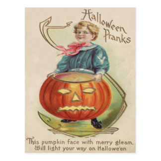 Cute Little Boy Sailor Outfit Jack O Lantern Postcard