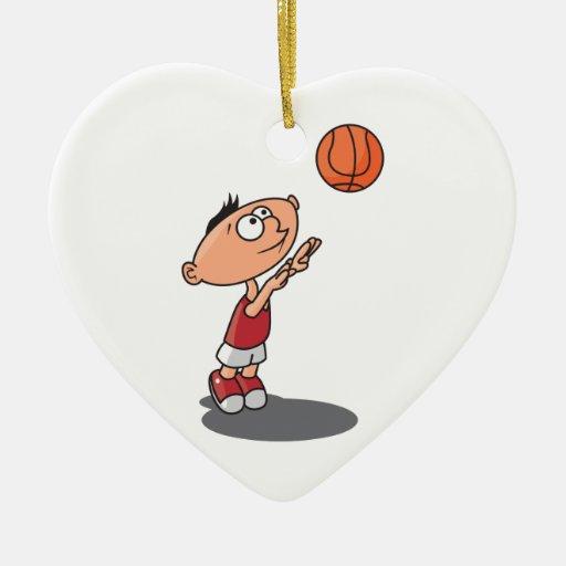 cute little boy shooting a basketball Double-Sided heart ceramic christmas ornament