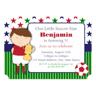 Cute Little Boy Soccer Birthday Party Invitations