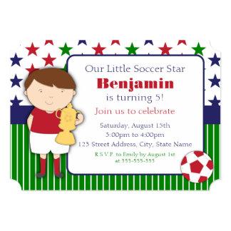"Cute Little Boy Soccer Birthday Party Invitations 5"" X 7"" Invitation Card"