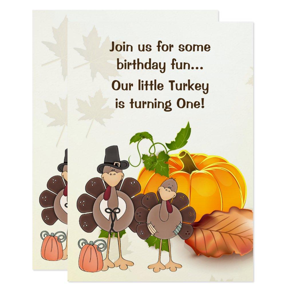 Cute Little Boy Turkey Thanksgiving 1st Birthday Card
