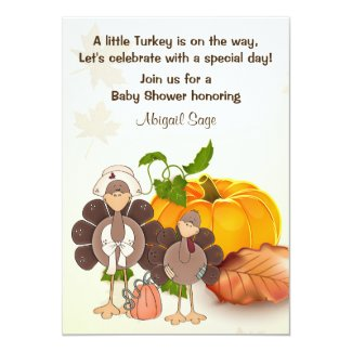 Cute Little Boy Turkey Thanksgiving Baby Shower 5x7 Paper Invitation Card