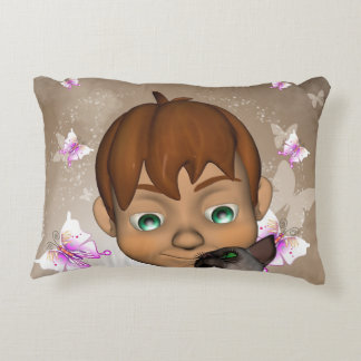 Cute little boy with his cat and  butterfly accent pillow