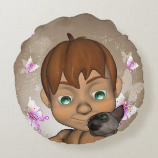 Cute little boy with his cat and  butterfly round pillow