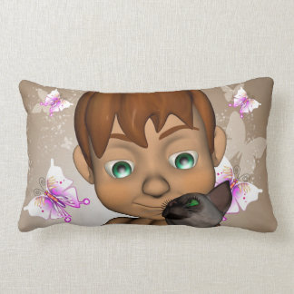 Cute little boy with his cat pillow