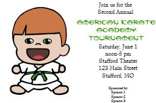 Karate tournament invitations announcements zazzle cute little boys karate tournament invitation stopboris Images