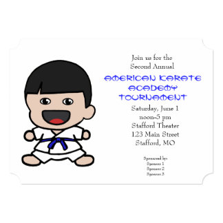 Cute Little Boys Karate Tournament Invitation