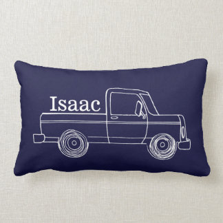 Cute Little Boy's Retro Pick Up Truck and Train Lumbar Pillow