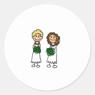 Cute Little Bride Lesbians Classic Round Sticker