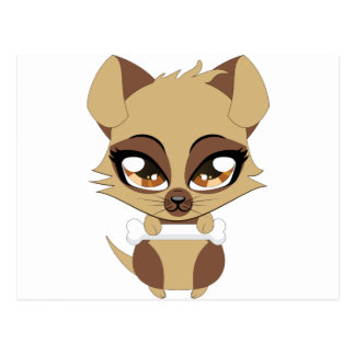 Cute little brown puppy postcard