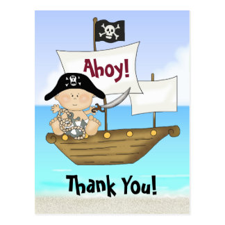 Cute Little Buccaneer Baby Boy Pirate Thank You Postcard