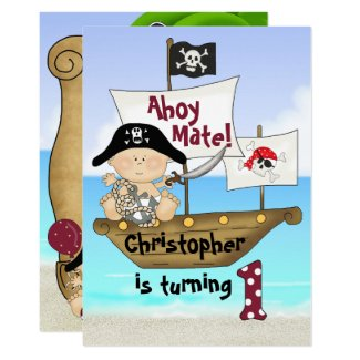 Cute Little Buccaneer ~ Pirate 1st Birthday Invitation