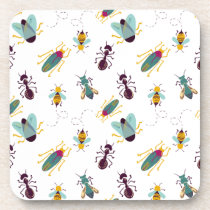 cute little bugs insects beverage coaster
