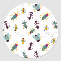 cute little bugs insects classic round sticker