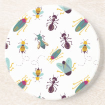 cute little bugs insects drink coaster