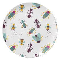 cute little bugs insects melamine plate