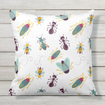 cute little bugs insects outdoor pillow
