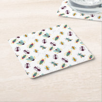 cute little bugs insects square paper coaster